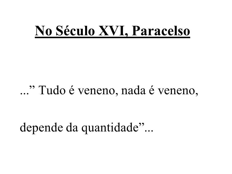 No Século XVI, Paracelso... Tudo é veneno, nada é veneno, depende da quantidade...