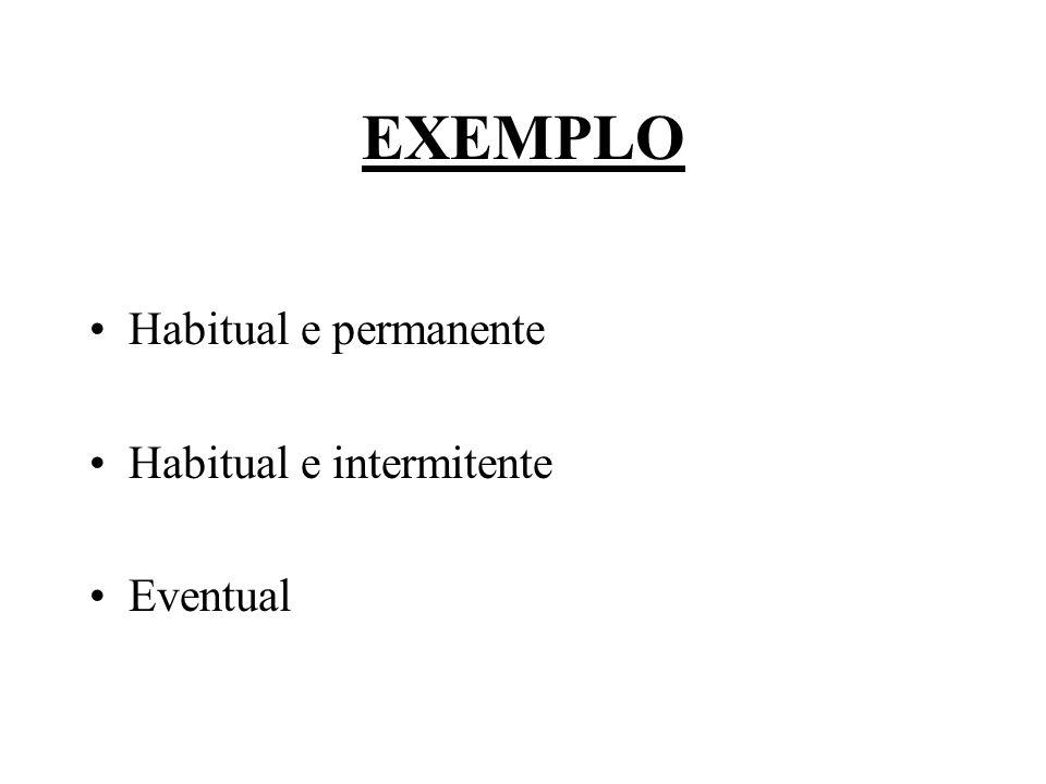 EXEMPLO Habitual e permanente Habitual e intermitente Eventual