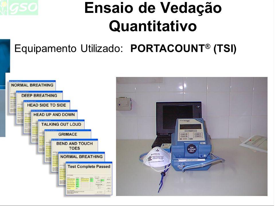 Ensaio de Vedação Quantitativo: -é uma medida da eficiência da vedação, alcançada pelo uso de uma cobertura das vias respiratórias -resultado expresso