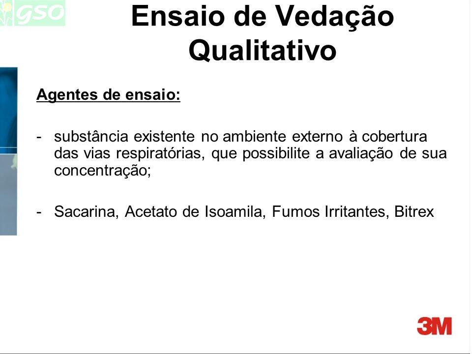 Ensaio de Vedação Qualitativo: -é uma medida,subjetiva da eficiência da vedação -o resultado é do tipo aprova/reprova, baseado na resposta sensorial a