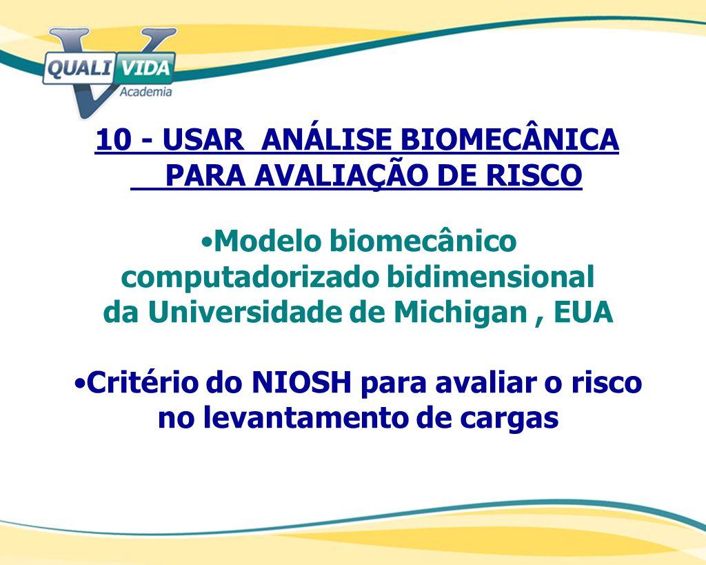 10 - USAR ANÁLISE BIOMECÂNICA PARA AVALIAÇÃO DE RISCO Modelo biomecânico computadorizado bidimensional da Universidade de Michigan, EUA Critério do NI