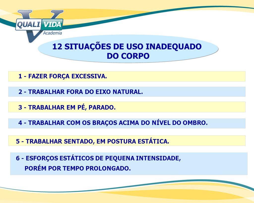 12 SITUAÇÕES DE USO INADEQUADO DO CORPO 1 - FAZER FORÇA EXCESSIVA. 2 - TRABALHAR FORA DO EIXO NATURAL. 3 - TRABALHAR EM PÉ, PARADO. 4 - TRABALHAR COM