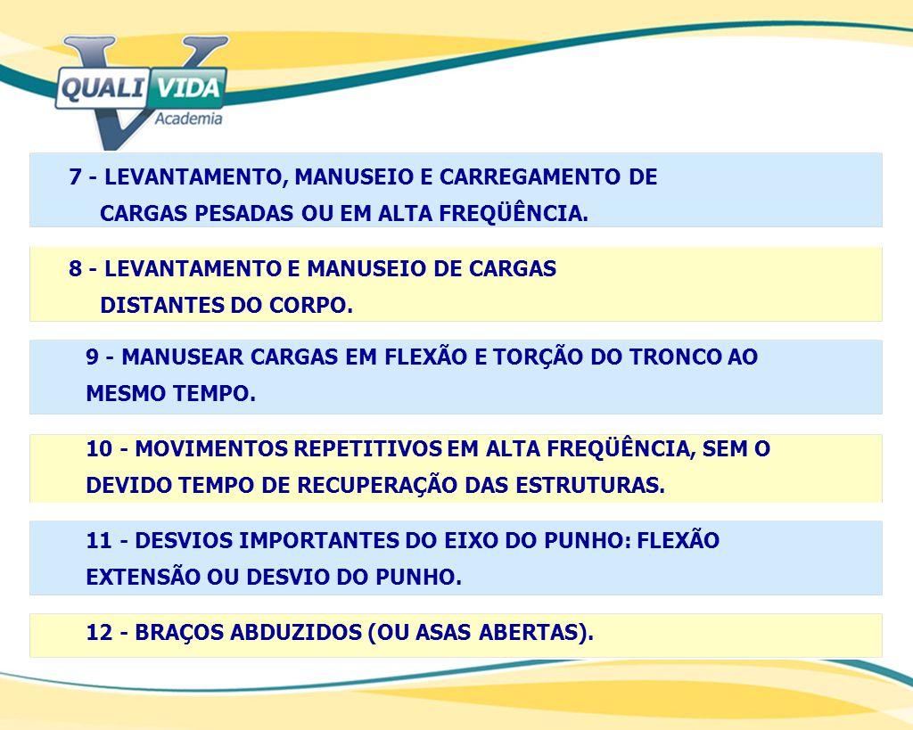 7 - LEVANTAMENTO, MANUSEIO E CARREGAMENTO DE CARGAS PESADAS OU EM ALTA FREQÜÊNCIA. 8 - LEVANTAMENTO E MANUSEIO DE CARGAS DISTANTES DO CORPO. 9 - MANUS