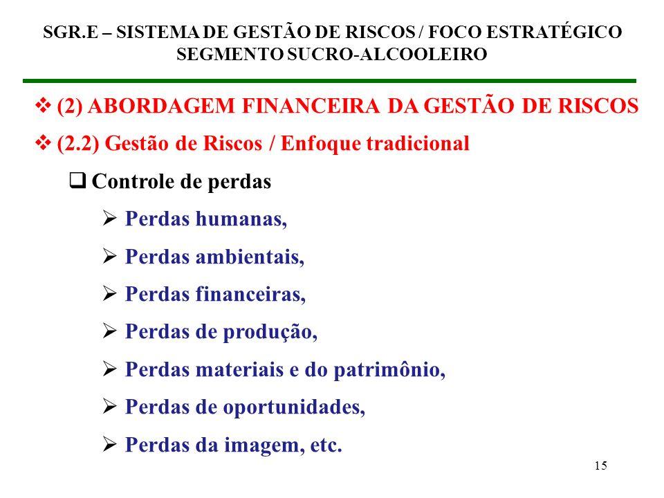 14 (2) ABORDAGEM FINANCEIRA DA GESTÃO DE RISCOS (2.1) O maior valor para a organização SGR.E – SISTEMA DE GESTÃO DE RISCOS / FOCO ESTRATÉGICO SEGMENTO