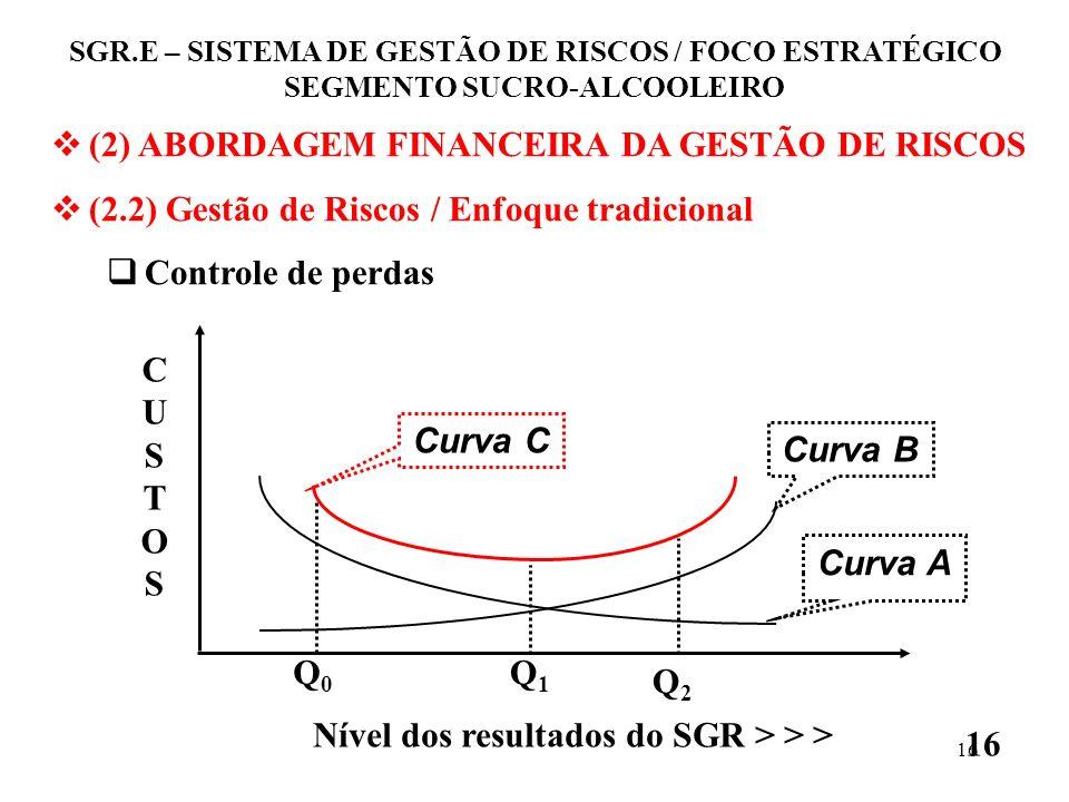 15 (2) ABORDAGEM FINANCEIRA DA GESTÃO DE RISCOS (2.2) Gestão de Riscos / Enfoque tradicional Controle de perdas Perdas humanas, Perdas ambientais, Per