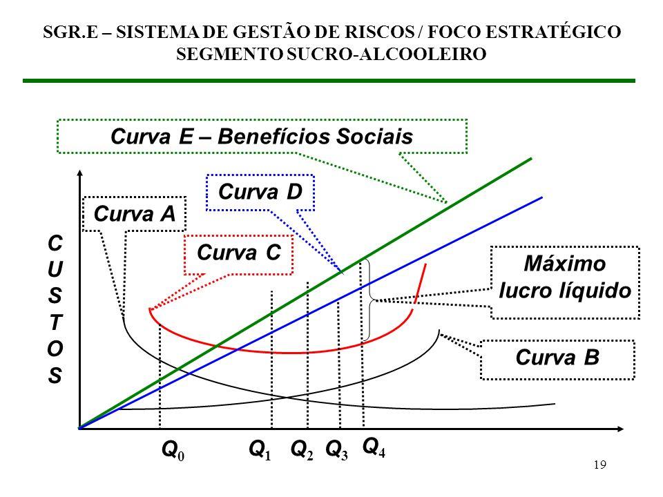 18 SGR.E – SISTEMA DE GESTÃO DE RISCOS / FOCO ESTRATÉGICO SEGMENTO SUCRO-ALCOOLEIRO Q0Q0 Q1Q1 Nível dos resultados do SGR.E > > > CUSTOSCUSTOS Curva A