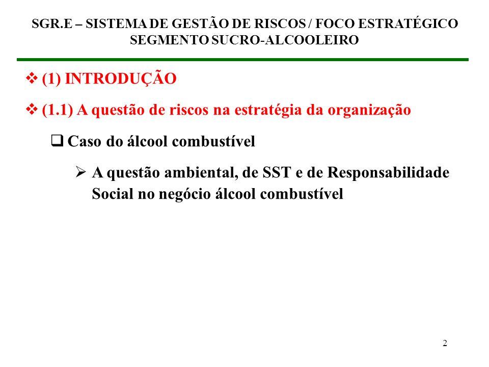 2 (1) INTRODUÇÃO (1.1) A questão de riscos na estratégia da organização Caso do álcool combustível A questão ambiental, de SST e de Responsabilidade Social no negócio álcool combustível SGR.E – SISTEMA DE GESTÃO DE RISCOS / FOCO ESTRATÉGICO SEGMENTO SUCRO-ALCOOLEIRO
