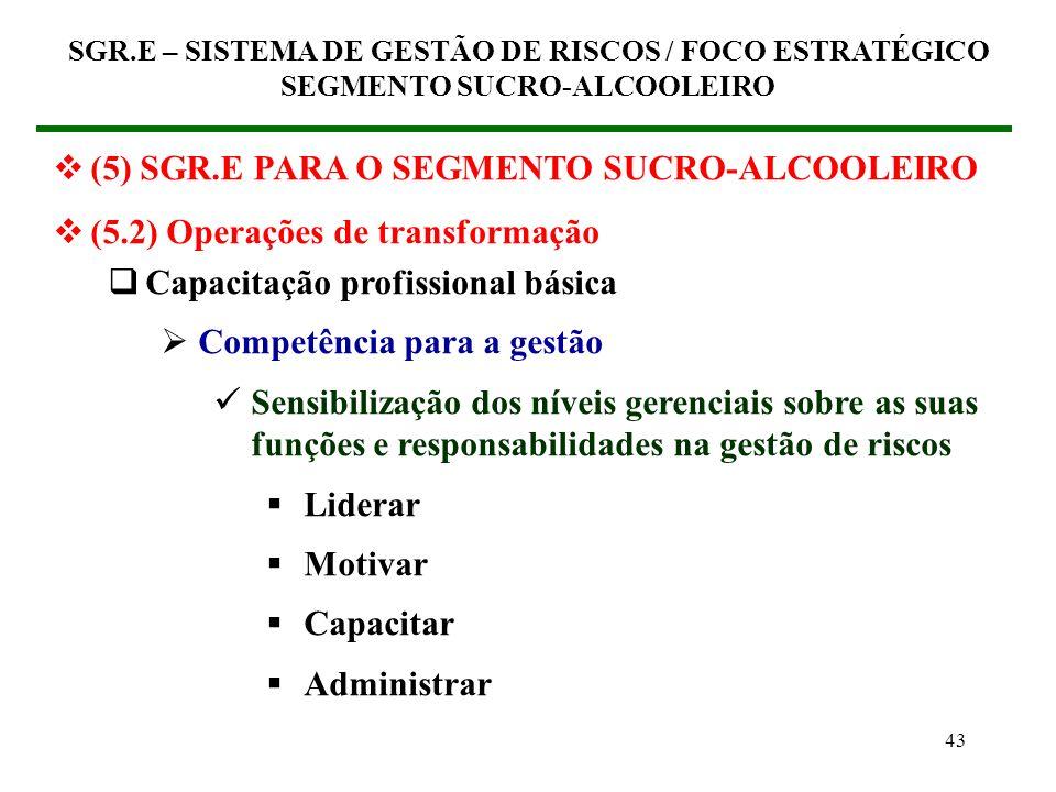 42 (5) SGR.E PARA O SEGMENTO SUCRO-ALCOOLEIRO (5.2) Operações de transformação Capacitação profissional básica Competência estratégica Sensibilização