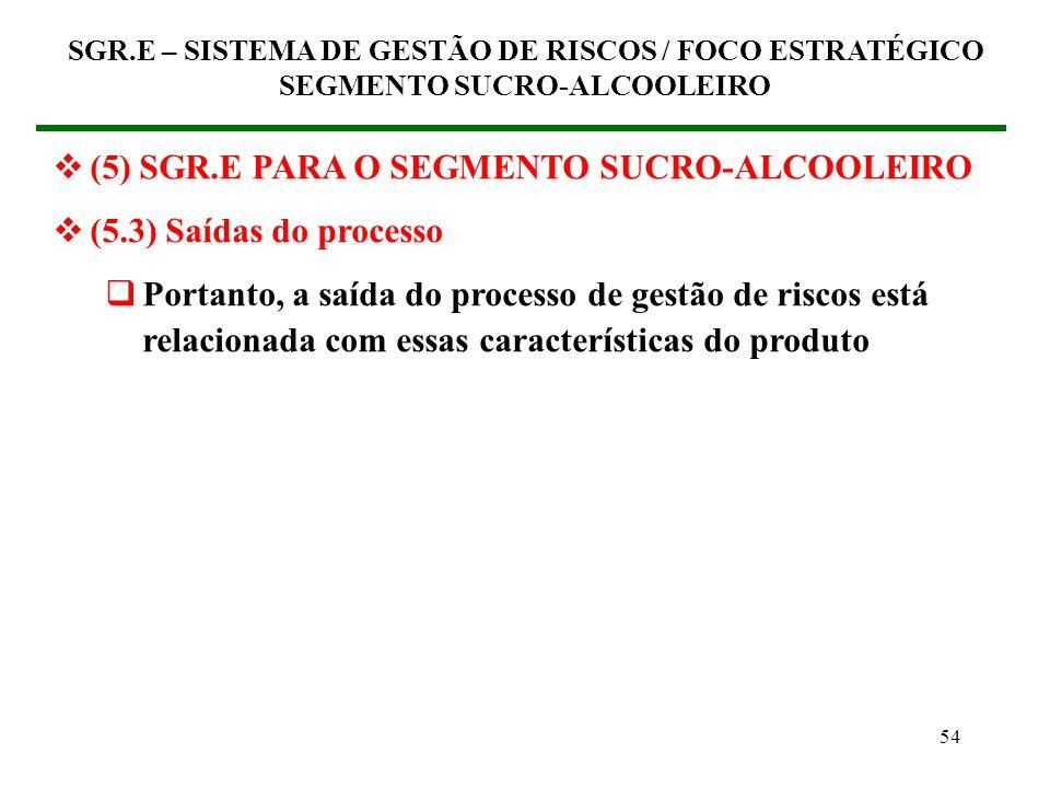 53 (5) SGR.E PARA O SEGMENTO SUCRO-ALCOOLEIRO (5.3) Saídas do processo Características indispensáveis para tais produtos: Disponibilidade, Prazo, Cust