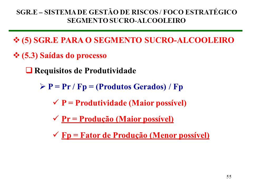54 (5) SGR.E PARA O SEGMENTO SUCRO-ALCOOLEIRO (5.3) Saídas do processo Portanto, a saída do processo de gestão de riscos está relacionada com essas ca