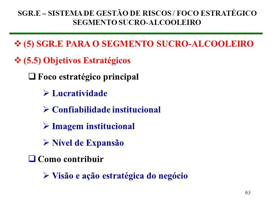 62 (5) SGR.E PARA O SEGMENTO SUCRO-ALCOOLEIRO (5.4) Objetivos do processo Requisitos de Competividade Marca Contribuir para a formação da imagem da em