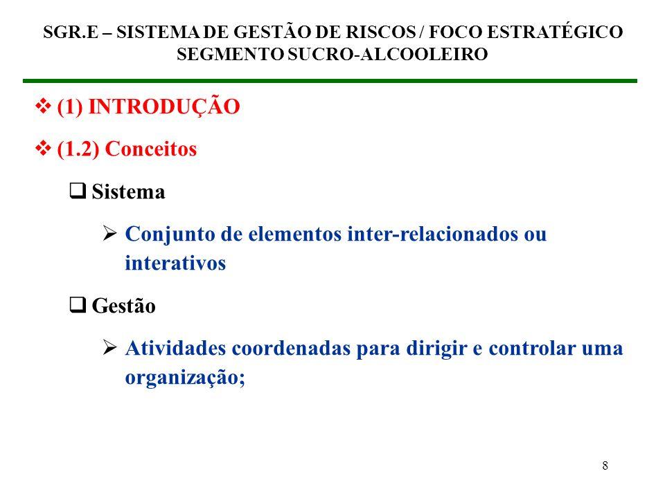 8 (1) INTRODUÇÃO (1.2) Conceitos Sistema Conjunto de elementos inter-relacionados ou interativos Gestão Atividades coordenadas para dirigir e controlar uma organização; SGR.E – SISTEMA DE GESTÃO DE RISCOS / FOCO ESTRATÉGICO SEGMENTO SUCRO-ALCOOLEIRO