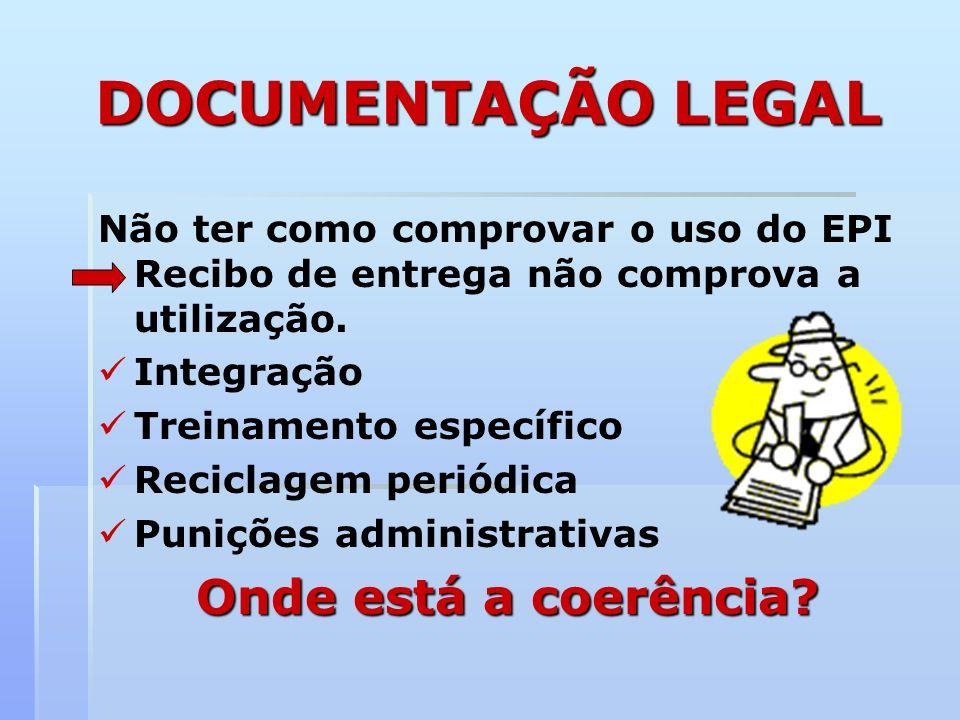 DOCUMENTAÇÃO LEGAL Não ter como comprovar o uso do EPI Recibo de entrega não comprova a utilização. Integração Treinamento específico Reciclagem perió
