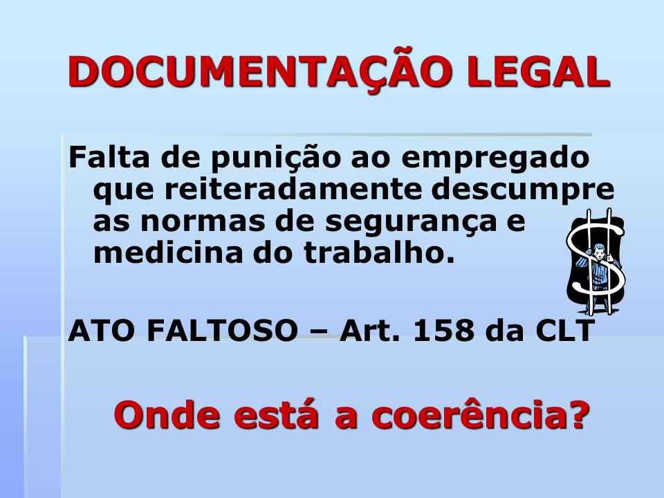 DOCUMENTAÇÃO LEGAL Falta de punição ao empregado que reiteradamente descumpre as normas de segurança e medicina do trabalho. ATO FALTOSO – Art. 158 da