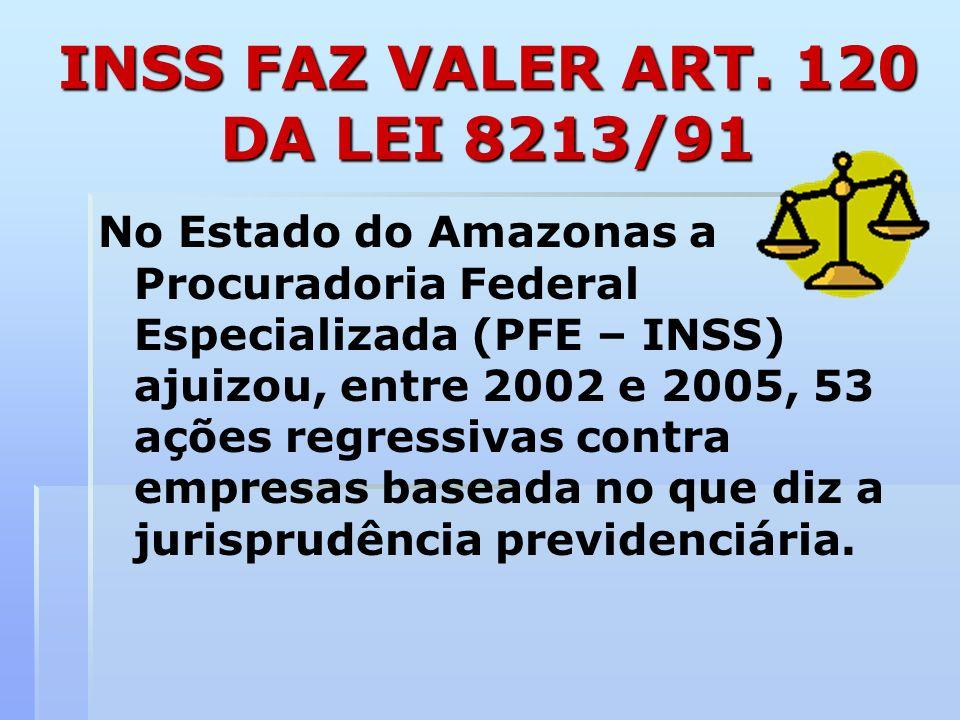 INSS FAZ VALER ART. 120 DA LEI 8213/91 No Estado do Amazonas a Procuradoria Federal Especializada (PFE – INSS) ajuizou, entre 2002 e 2005, 53 ações re