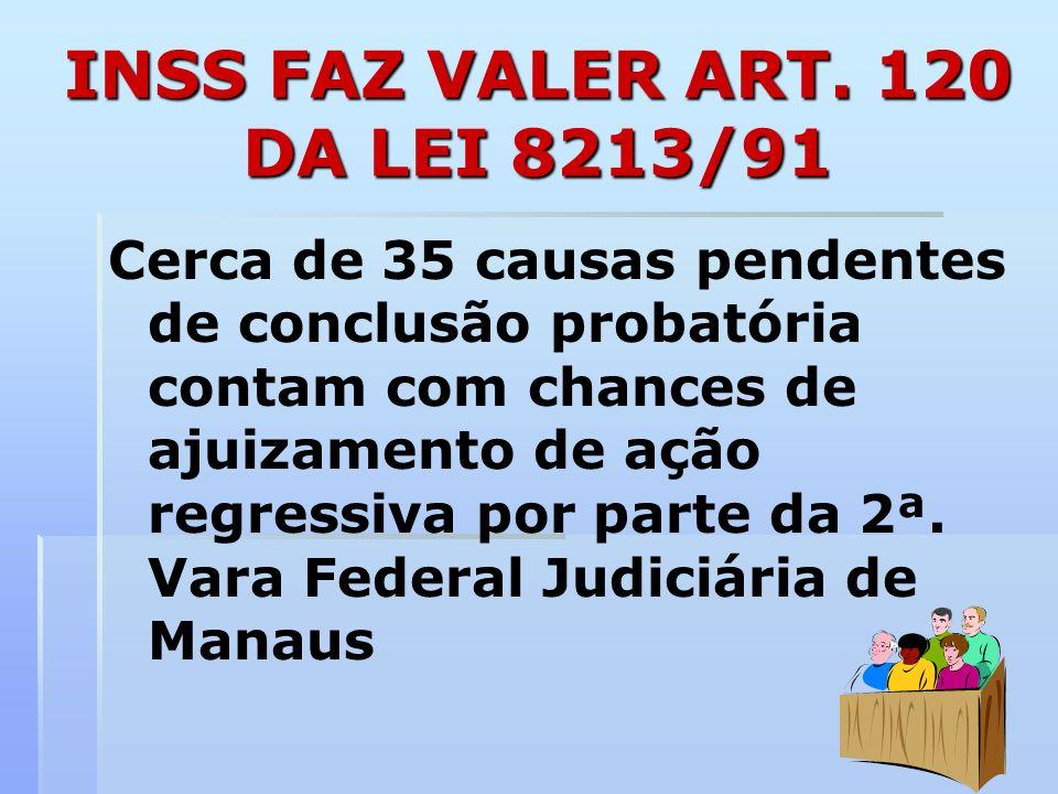 INSS FAZ VALER ART. 120 DA LEI 8213/91 Cerca de 35 causas pendentes de conclusão probatória contam com chances de ajuizamento de ação regressiva por p