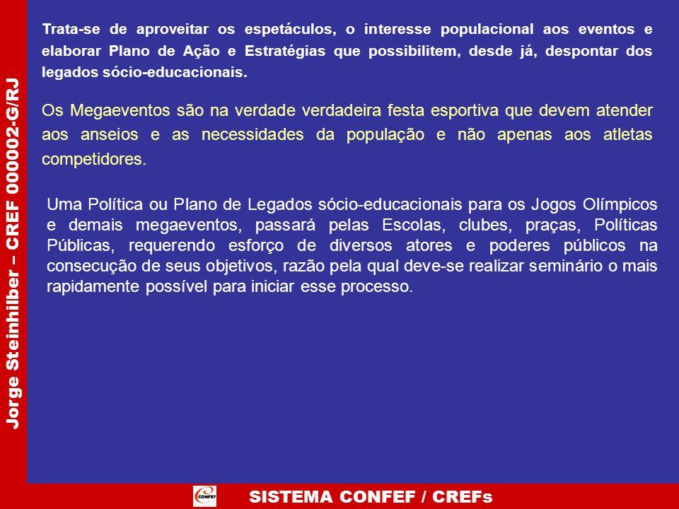 SISTEMA CONFEF / CREFs Jorge Steinhilber – CREF 000002-G/RJ Trata-se de aproveitar os espetáculos, o interesse populacional aos eventos e elaborar Pla
