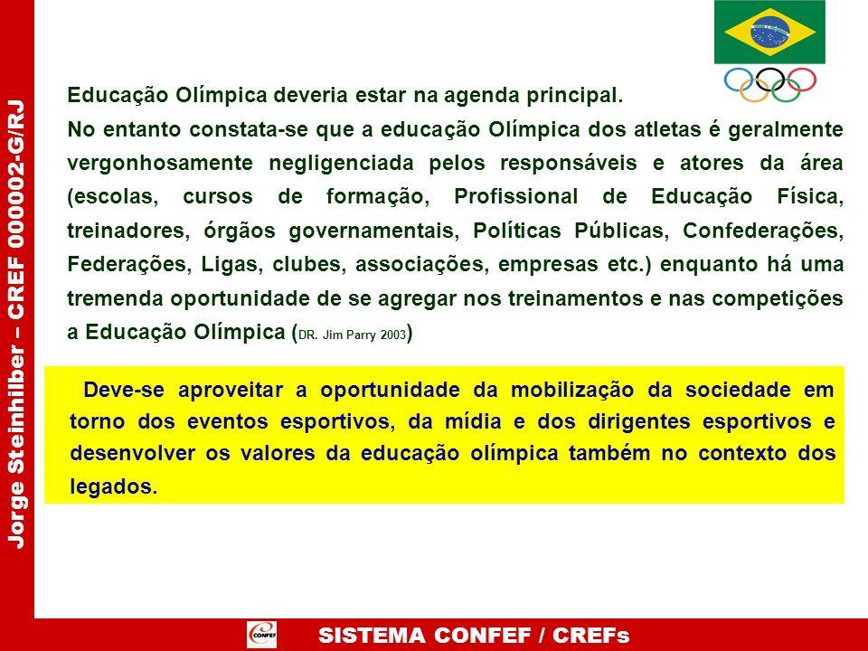 SISTEMA CONFEF / CREFs Jorge Steinhilber – CREF 000002-G/RJ Deve-se aproveitar a oportunidade da mobilização da sociedade em torno dos eventos esporti