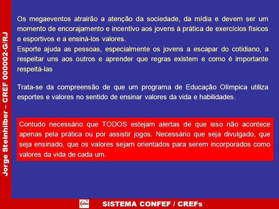 SISTEMA CONFEF / CREFs Jorge Steinhilber – CREF 000002-G/RJ Os megaeventos atrairão a atenção da sociedade, da mídia e devem ser um momento de encoraj