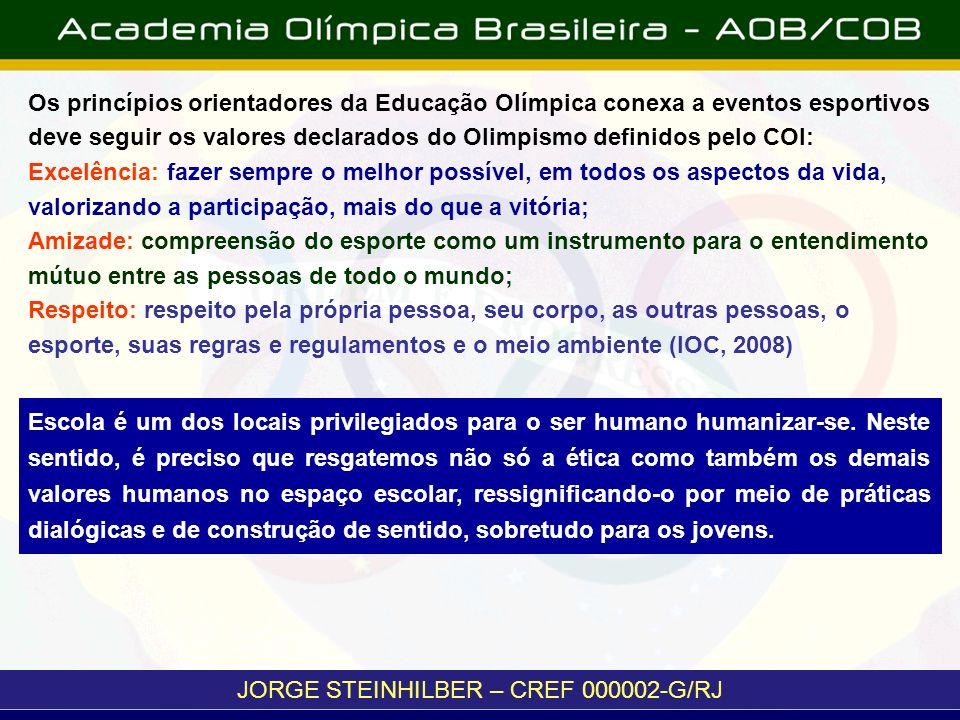 JORGE STEINHILBER – CREF 000002-G/RJ Os princípios orientadores da Educação Olímpica conexa a eventos esportivos deve seguir os valores declarados do