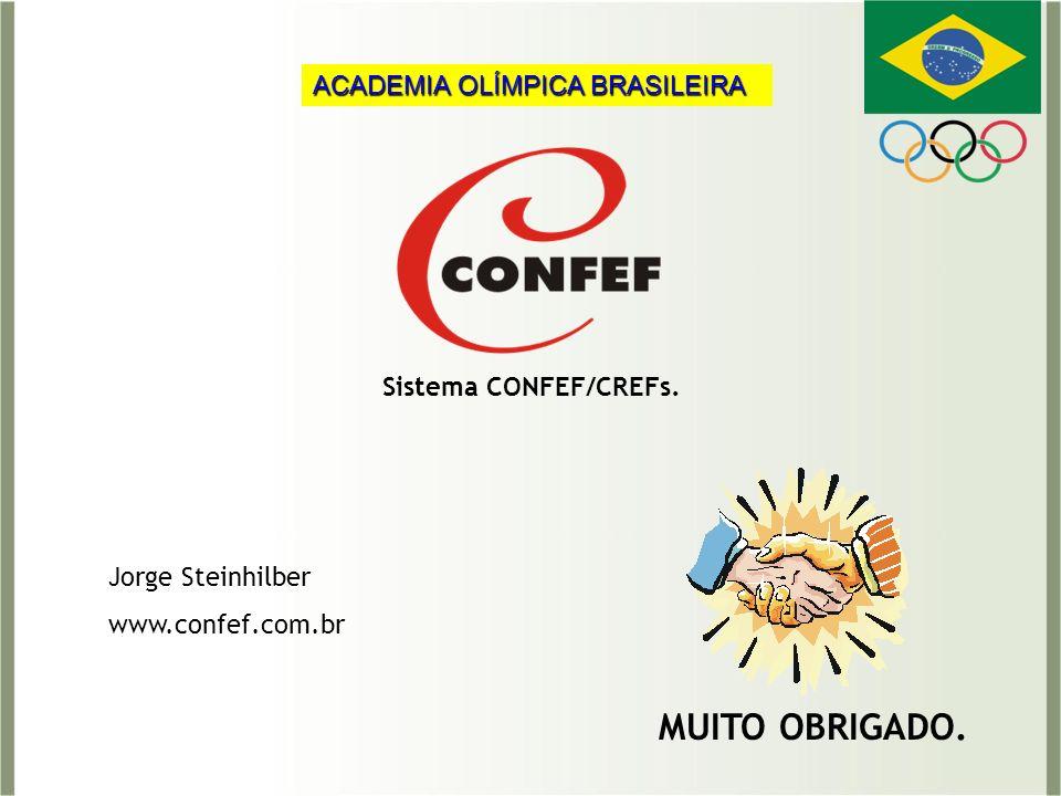 MUITO OBRIGADO. Jorge Steinhilber www.confef.com.br Sistema CONFEF/CREFs. ACADEMIA OLÍMPICA BRASILEIRA