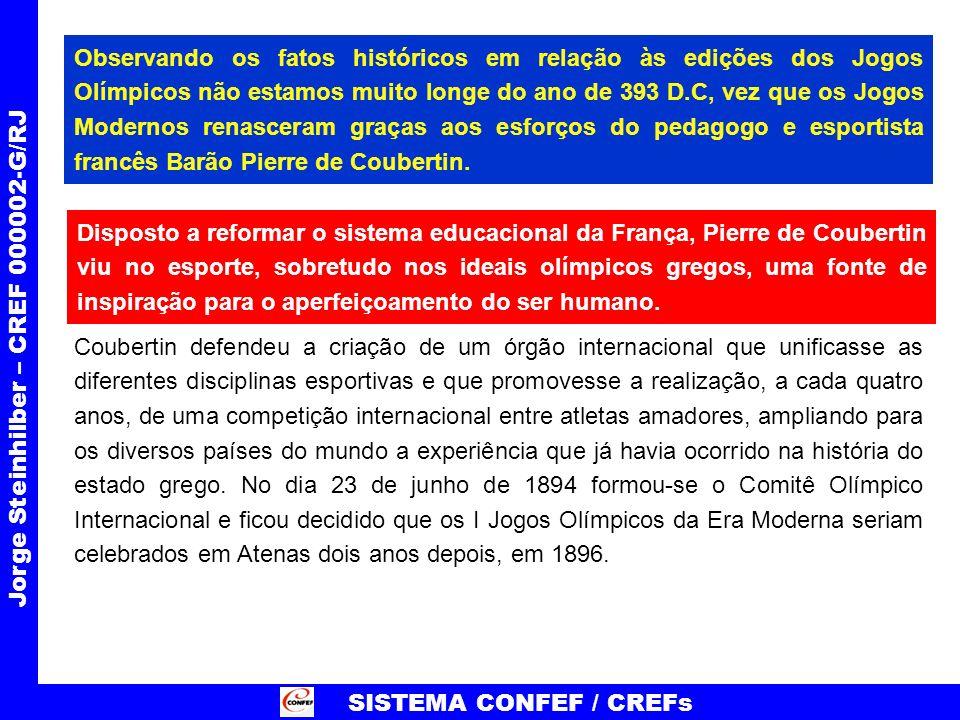SISTEMA CONFEF / CREFs Jorge Steinhilber – CREF 000002-G/RJ PRECISAMOS ATUAR JUNTO AOS VÁRIOS SETORES (LEGISLATIVO, EXECUTIVO, JUDICIÁRIO, MÍDIA, SOCIEDADE...) NO SENTIDO DE DEMONSTRAR O VALOR DA EDUCAÇÃO OLÍMPICA.