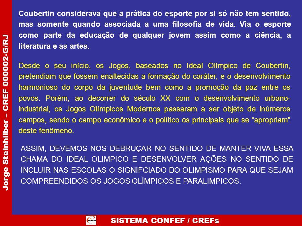 SISTEMA CONFEF / CREFs Jorge Steinhilber – CREF 000002-G/RJ Deve-se aproveitar a oportunidade da mobilização da sociedade em torno dos eventos esportivos, da mídia e dos dirigentes esportivos e desenvolver os valores da educação olímpica também no contexto dos legados.