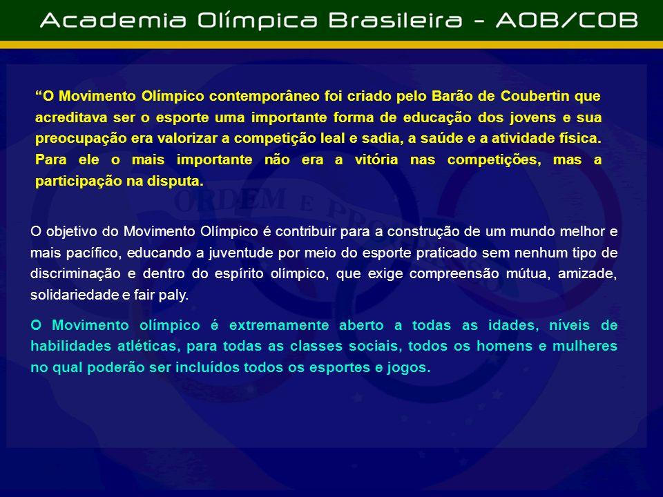 O Movimento Olímpico contemporâneo foi criado pelo Barão de Coubertin que acreditava ser o esporte uma importante forma de educação dos jovens e sua p