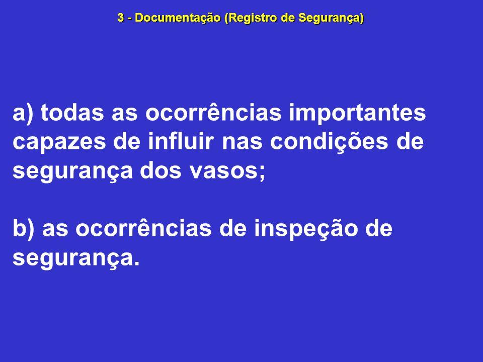 a) todas as ocorrências importantes capazes de influir nas condições de segurança dos vasos; b) as ocorrências de inspeção de segurança.