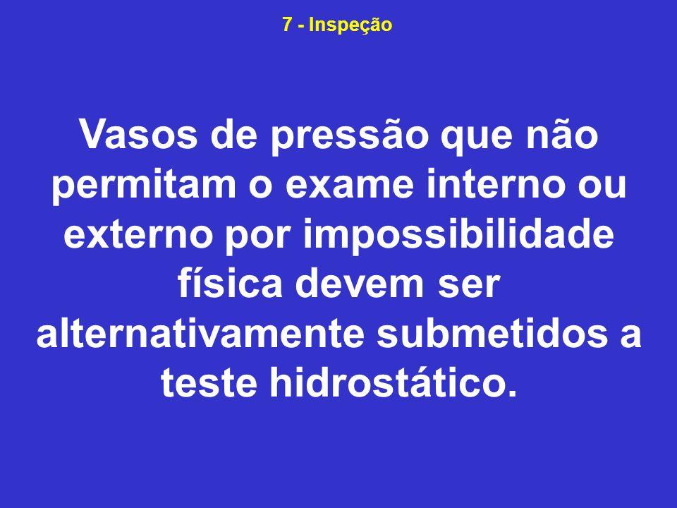 Vasos de pressão que não permitam o exame interno ou externo por impossibilidade física devem ser alternativamente submetidos a teste hidrostático.