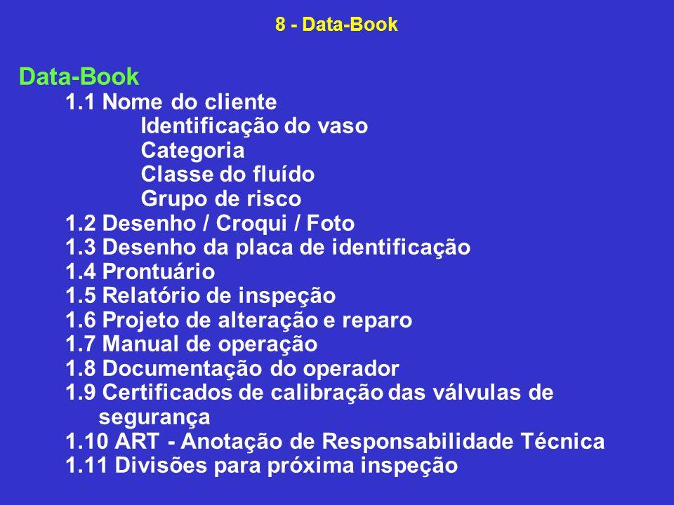 Data-Book 1.1 Nome do cliente Identificação do vaso Categoria Classe do fluído Grupo de risco 1.2 Desenho / Croqui / Foto 1.3 Desenho da placa de identificação 1.4 Prontuário 1.5 Relatório de inspeção 1.6 Projeto de alteração e reparo 1.7 Manual de operação 1.8 Documentação do operador 1.9 Certificados de calibração das válvulas de segurança 1.10 ART - Anotação de Responsabilidade Técnica 1.11 Divisões para próxima inspeção 8 - Data-Book