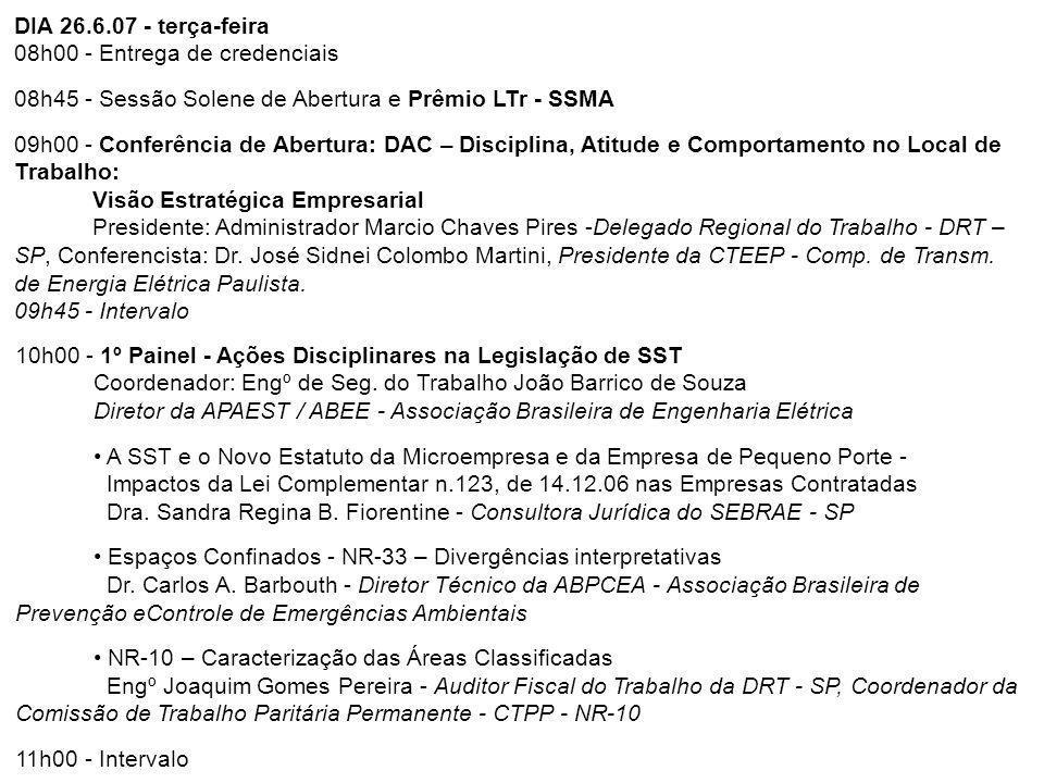 DIA 26.6.07 - terça-feira 08h00 - Entrega de credenciais 08h45 - Sessão Solene de Abertura e Prêmio LTr - SSMA 09h00 - Conferência de Abertura: DAC –