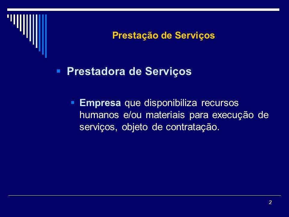 2 Prestação de Serviços Prestadora de Serviços Empresa que disponibiliza recursos humanos e/ou materiais para execução de serviços, objeto de contrata