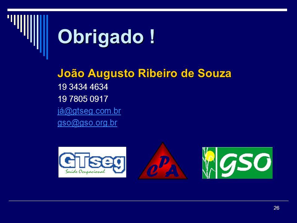 26 Obrigado ! João Augusto Ribeiro de Souza 19 3434 4634 19 7805 0917 já@gtseg.com.br gso@gso.org.br