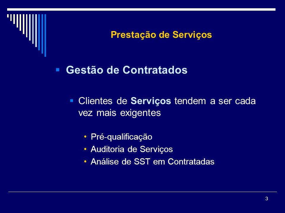 3 Prestação de Serviços Gestão de Contratados Clientes de Serviços tendem a ser cada vez mais exigentes Pré-qualificação Auditoria de Serviços Análise
