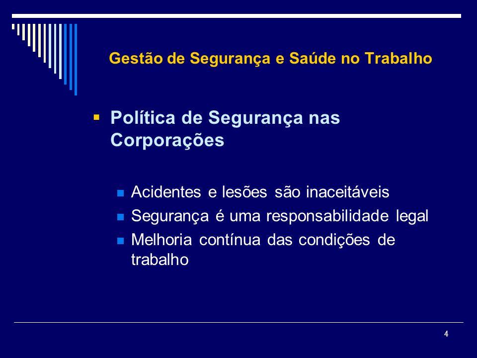 4 Gestão de Segurança e Saúde no Trabalho Política de Segurança nas Corporações Acidentes e lesões são inaceitáveis Segurança é uma responsabilidade l