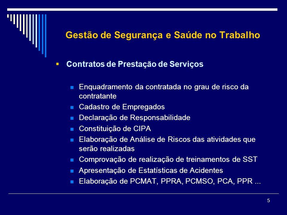 5 Gestão de Segurança e Saúde no Trabalho Contratos de Prestação de Serviços Enquadramento da contratada no grau de risco da contratante Cadastro de E