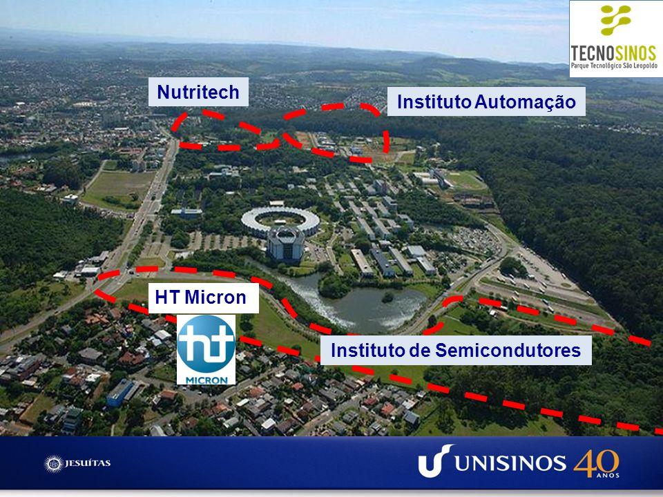 Criação de um cluster de alta tecnologia no RS PROJETO (Design) UFRGS/PUC FABRICAÇÃO (Front End) UFRGS/CEITEC ENCAPSULAMENT O (Back End) UNISINOS Cooperação Científica e Tecnológica