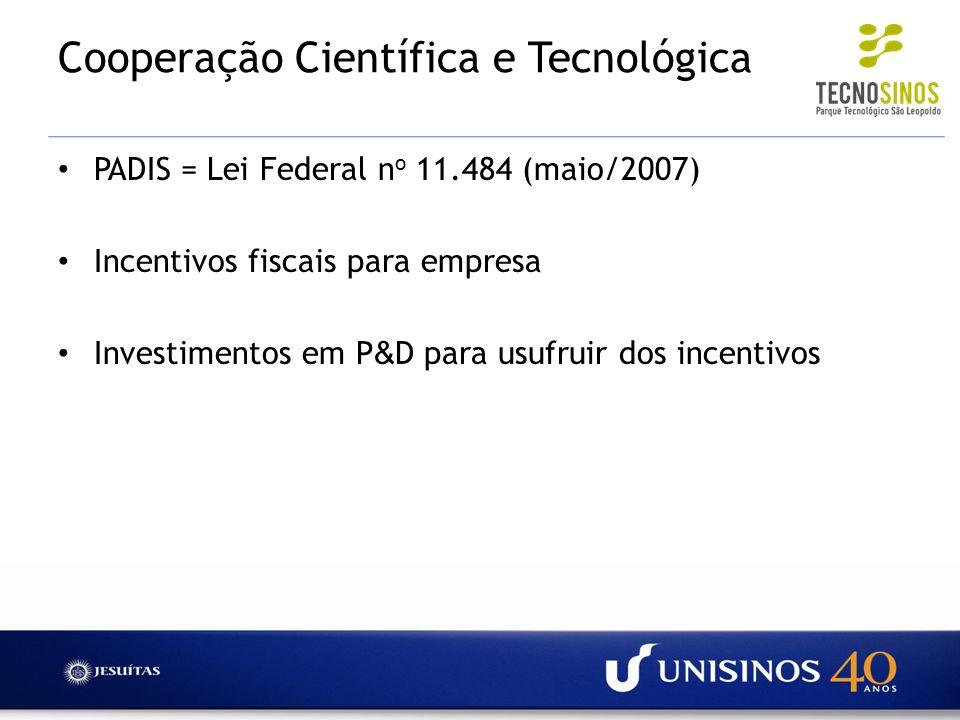 Cooperação Científica e Tecnológica PADIS = Lei Federal n o 11.484 (maio/2007) Incentivos fiscais para empresa Investimentos em P & D para usufruir do