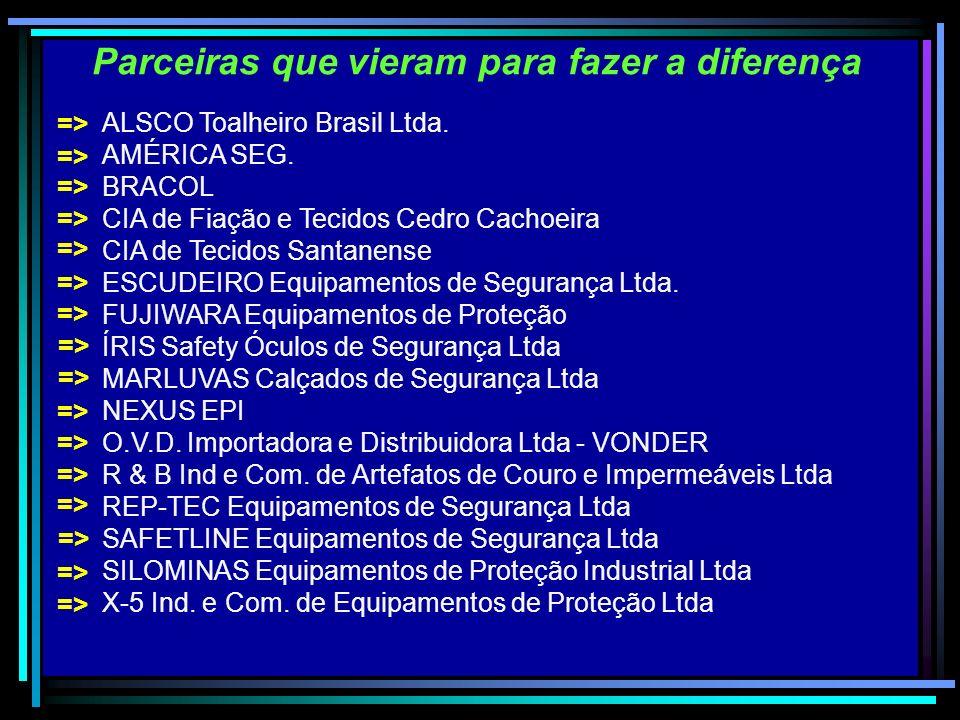 Parceiras que vieram para fazer a diferença ALSCO Toalheiro Brasil Ltda. AMÉRICA SEG. BRACOL CIA de Fiação e Tecidos Cedro Cachoeira CIA de Tecidos Sa