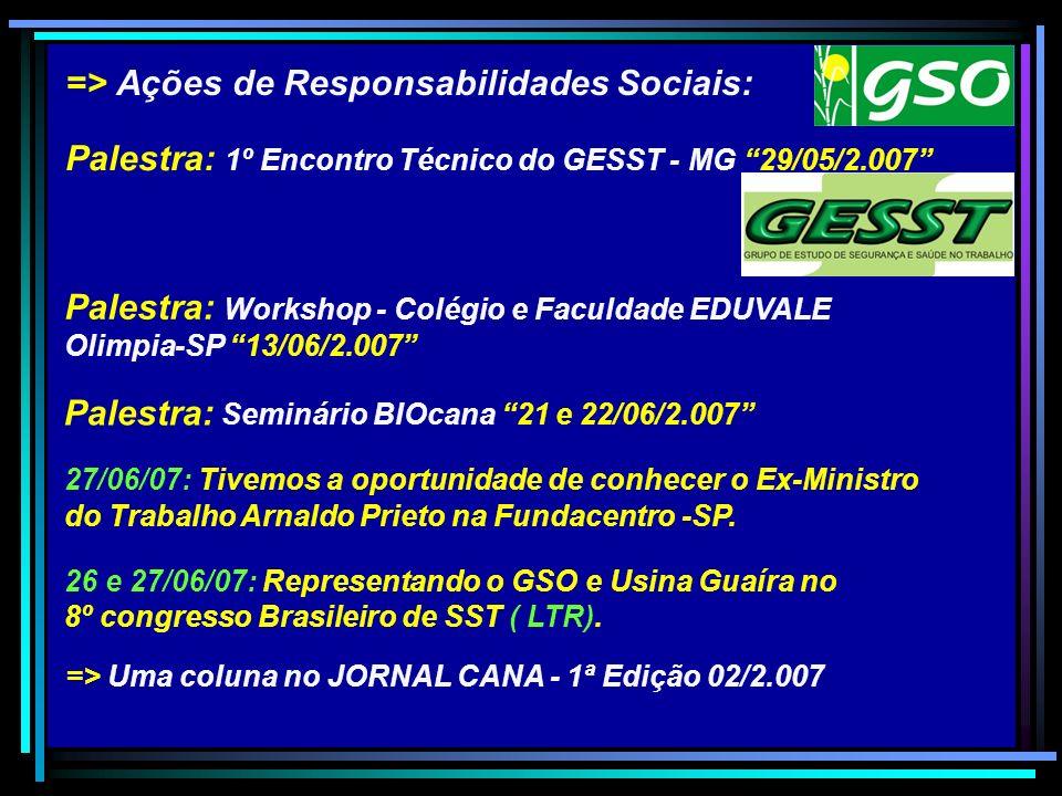 Palestra: Seminário BIOcana 21 e 22/06/2.007 => Ações de Responsabilidades Sociais: Palestra: 1º Encontro Técnico do GESST - MG 29/05/2.007 Palestra: