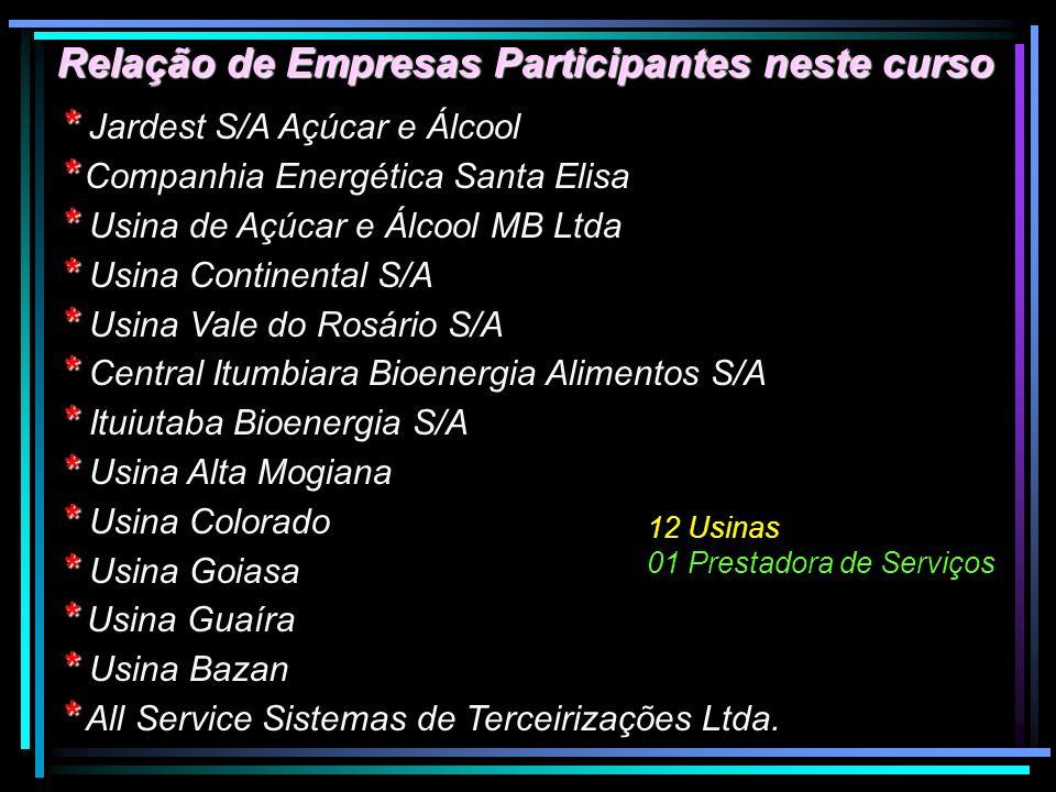 Relação de Empresas Participantes neste curso * * Jardest S/A Açúcar e Álcool * * Companhia Energética Santa Elisa * * Usina de Açúcar e Álcool MB Ltd