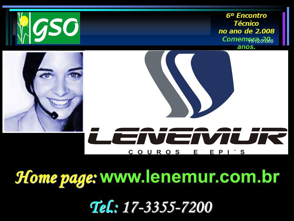 Home page: Home page: www.lenemur.com.br Tel.: 17-3355-7200 11/12/2.008 6º Encontro Técnico no ano de 2.008 Comemora 20 anos.