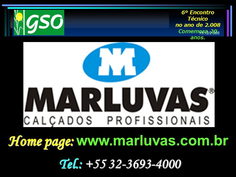 Home page: Home page: www.marluvas.com.br Tel.: +55 32-3693-4000 11/12/2.008 6º Encontro Técnico no ano de 2.008 Comemora 20 anos.