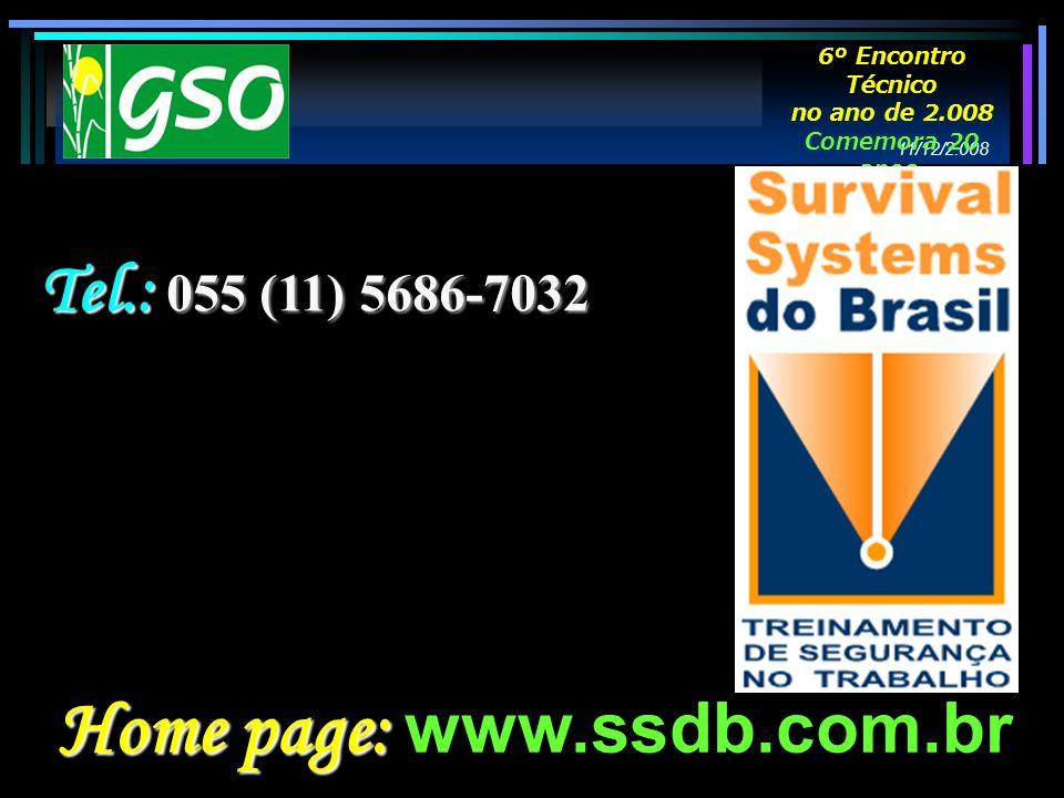 Home page: Home page: www.ssdb.com.br Tel.: 055 (11) 5686-7032 11/12/2.008 6º Encontro Técnico no ano de 2.008 Comemora 20 anos.