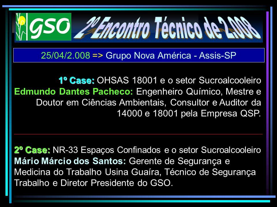 25/04/2.008 => Grupo Nova América - Assis-SP 2º Case: 2º Case: NR-33 Espaços Confinados e o setor Sucroalcooleiro Mário Márcio dos Santos: Gerente de