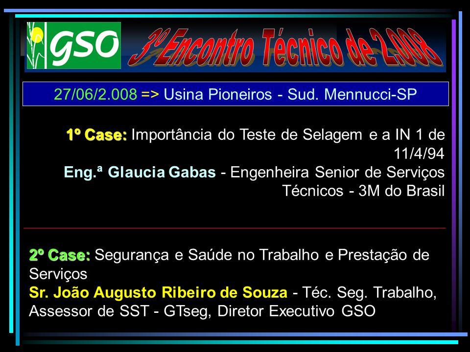 27/06/2.008 => Usina Pioneiros - Sud. Mennucci-SP 1º Case: 1º Case: Importância do Teste de Selagem e a IN 1 de 11/4/94 Eng.ª Glaucia Gabas - Engenhei