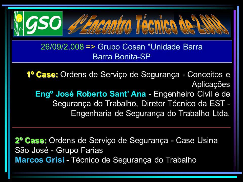 26/09/2.008 => Grupo Cosan Unidade Barra Barra Bonita-SP 1º Case: 1º Case: Ordens de Serviço de Segurança - Conceitos e Aplicações Engº José Roberto S