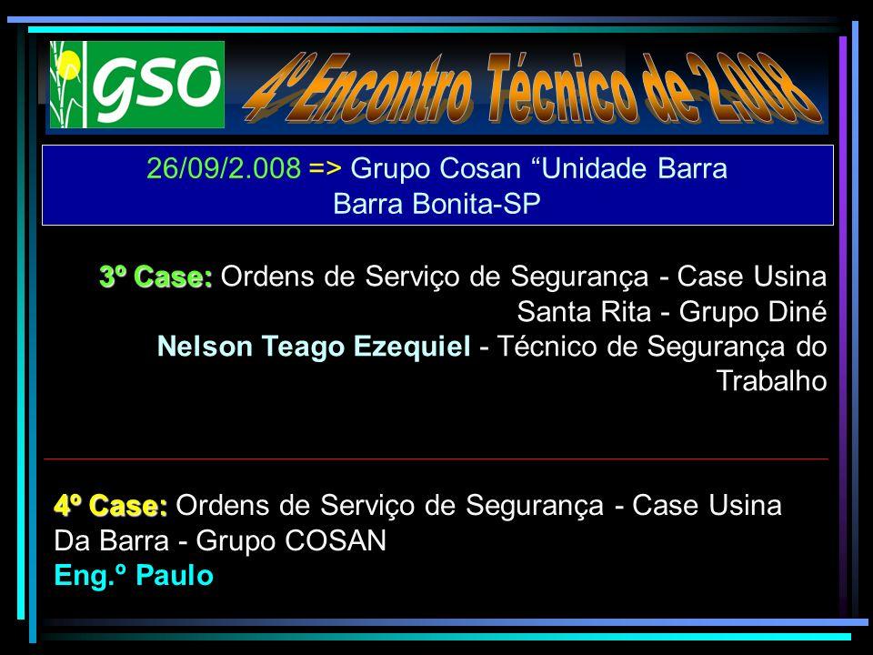 26/09/2.008 => Grupo Cosan Unidade Barra Barra Bonita-SP 3º Case: 3º Case: Ordens de Serviço de Segurança - Case Usina Santa Rita - Grupo Diné Nelson