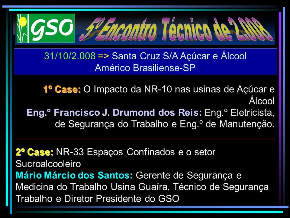 31/10/2.008 => Santa Cruz S/A Açúcar e Álcool Américo Brasiliense-SP 1º Case: 1º Case: O Impacto da NR-10 nas usinas de Açúcar e Álcool Eng.º Francisc